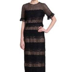 Belle Badgley Mishka Gabrielle Black Lace Gown